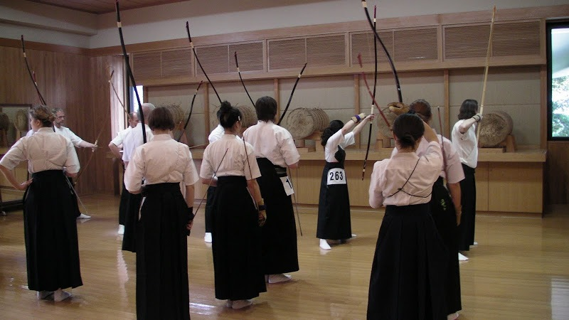 La sala Makiwara del dojo centrale della All Nippon Kyudo Federation a Tokyo